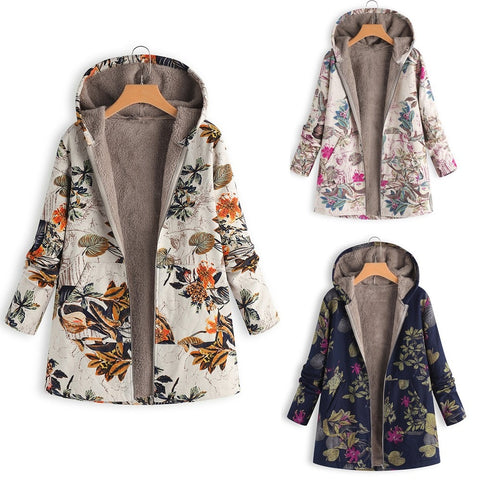 Whoohoo Coat Winter Warm Outwear Floral Print Hooded Pockets