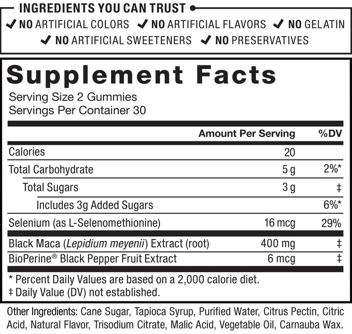 Supplement Facts; Serving Size 2 Gummies; Servings Per Container 30; Calories 20; Total Carbohydrate 5 g 2%* Daily Value; Total Sugars 3g; Includes 3g Added Sugars 6%* Daily Value; Selenium (as L-Selenomethionine) 16 mcg 29% Daily Value; Black Maca (Lepidium meyenii ) Extract (root) 400 mg; BioPerine® Black Pepper Fruit Extract 6 mcg; * Percent Daily Values are based on a 2,000 calorie diet; Other Ingredients: Cane Sugar, Tapioca Syrup, Purified Water, Citrus Pectin, Citric Acid, Natural Flavor, Trisodium Citrate, Malic Acid, Vegetable Oil, Carnauba Wax.