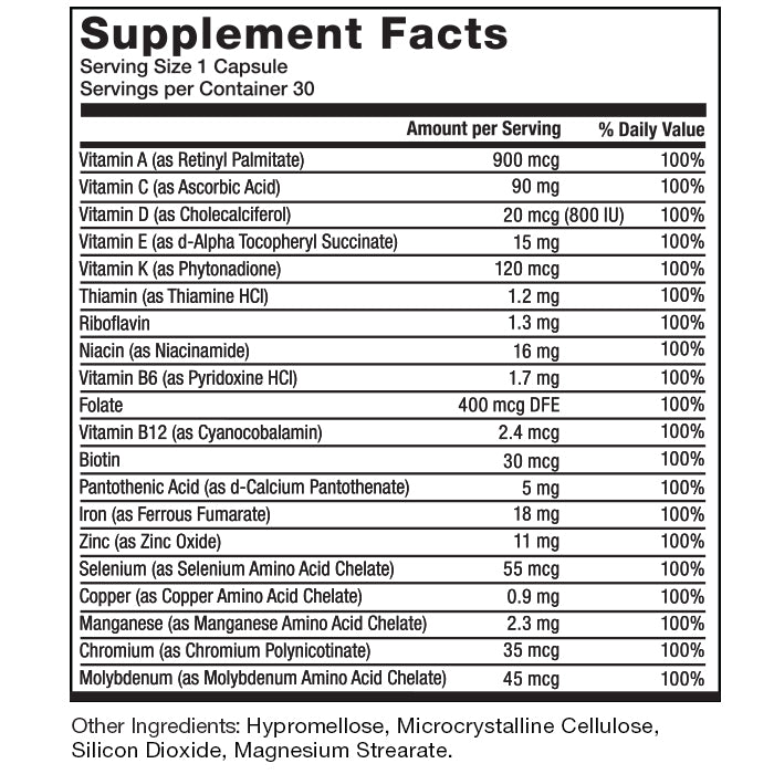 Supplement Facts. Serving Size 1 Capsule. Servings Per Container 30. Vitamin A (as Retinyl Palmitate) 3000 IU per serving 100% daily value. Vitamin C (as Ascorbic Acid) 90 mg per serving 100% daily value. Iron (as Ferrous Fumarate) 18 mg per serving 100% daily value. Vitamin D (as Cholecalciferol) 800 IU per serving 100% daily value. Vitamin E (as d-Alpha Tocopheryl Succinate) 22 IU per serving 100% daily value. Vitamin K (as Phytonadione) 120 mcg per serving 100% daily value. Thiamin (as Thiamine HCl) 1.2 mg per serving 100% daily value. Riboflavin 1.3 mg per serving 100% daily value. Niacin (as Niacinamide) 16 mg per serving 100% daily value. Vitamin B6 (as Pyridoxine HCl) 1.7 mg per serving 100% daily value. Folate 400 mcg per serving 100% daily value. Vitamin B12 (as Cyanocobalamin) 2.4 mcg per serving 100% daily value. Biotin 30 mcg per serving 100% daily value. Pantothenic acid (as d-Calcium Pantothenate) 5 mg per serving 100% daily value. Zinc (as Zinc Oxide) 11 mg per serving 100% daily value. Selenium (as Selenium Amino Acid Chelate) 55 mcg per serving 100% daily value. Copper (as Copper Amino Acid Chelate) 0.9 mg per serving 100% daily value. Manganese (as Manganese Amino Acid Chelate) 2.3 mg per serving 100% daily value. Chromium (as Chromium Polynicotinate) 35 mcg per serving 100% daily value. Molybdenum (as Molybdenum Amino Acid Chelate) 45 mcg per serving 100% daily value. Other Ingredients: Hypromellose, Microcrystalline Cellulose, Silicon Dioxide, Magnesium Strearate.