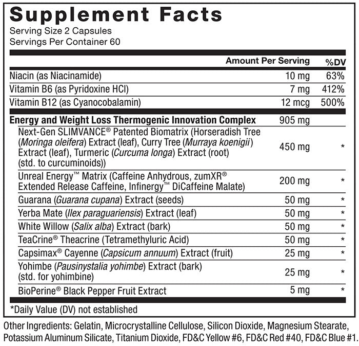 Supplement Facts. Serving Size: 2 Capsules. Servings Per Container: 60. Niacin (as Niacinamide) 10mg per serving 63% daily value, Nitamin B6 (as Pyridoxine HCl) 7mg per serving 412% daily value. Vitamin B12 (as Cyanocobalamin) 12mcg 500% daily value. Energy and Weight Loss Thermogenic Innovation Complex 905mg per serving: Next-Gen SLIMVANCE® Patented Biomatrix (Horseradish Tree (Moringa oleifera) Extract (leaf), Curry Tree (Murraya koenigii) Extract (leaf), Turmeric (Curcuma longa) Extract (root) (std. to curcuminoids)) 450mg per serving * daily value, Unreal Energy™ Matrix (Caffeine Anhydrous, zümXR® Extended Release Caffeine, Infinergy™ DiCaffeine Malate) 200mg per serving * daily value, Guarana (Guarana cupana) Extract (seeds) 50mg per serving * daily value, Yerba Mate (Ilex paraguariensis) Extract (leaf) 50mg per serving * daily value, White Willow (Salix alba) Extract (bark) 50mg * daily value, TeaCrine® Theacrine (Tetramethyluric Acid) 50mg per serving * daily value, Capsimax<sup>®</sup> Cayenne (Capsicum annuum) Extract (fruit) 25mg per serving * daily value, Yohimbe (Pausinystalia yohimbe) Extract (bark) (std. for yohimbine) 25mg per serving * daily value, BioPerine® Black Pepper Fruit Extract 5mg per serving * daily value. * Daily Value (DV) not established. Other Ingredients: Gelatin, Microcrystalline Cellulose, Silicon Dioxide, Magnesium Stearate, Potassium Aluminum Silicate, Titanium Dioxide, FD&C Yellow #6, FD&C Red #40, FD&C Blue #1.