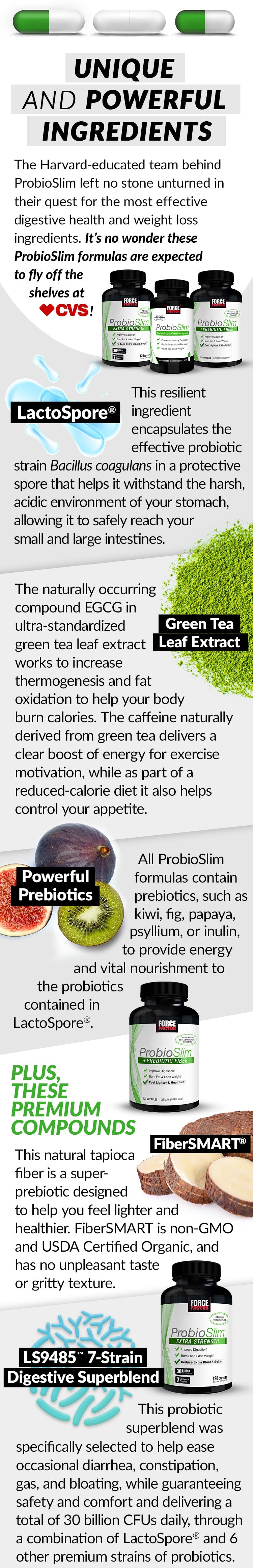 UNIQUE AND POWERFUL INGREDIENTS. The Harvard-educated team behind ProbioSlim left no stone unturned in their quest for the most effective digestive health and weight loss ingredients. It's no wonder these ProbioSlim formulas are expected to fly off the shelves at CVS! Bottles for ProbioSlim, ProbioSlim + Prebiotic Fiber, and ProbioSlim Extra Strength. LactoSpore® This resilient ingredient encapsulates the effective probiotic strain Bacillus coagulans in a protective spore that helps it withstand the harsh, acidic environment of your stomach, allowing it to safely reach your small and large intestines. Green Tea Leaf Extract. The naturally occurring compound EGCG in ultra-standardized green tealeaf extract works to increase thermogenesis and fat oxidation to help your body burn calories. The caffeine naturally derived from green tea delivers a clear boost of energy for exercise motivation, while as part of a reduced-calorie diet it also helps control your appetite. Powerful Prebiotics. All ProbioSlim formulas contain prebiotics, such as kiwi, fig, papaya, psyllium, or inulin, to provide energy and vital nourishment to the probiotics contained in LactoSpore®. PLUS, THESE PREMIUM COMPOUNDS: FiberSMART® This natural tapioca fiber is a super-prebiotic designed to help you feel lighter and healthier. FiberSMART is non-GMO and USDA Certified Organic, and has no unpleasant taste or gritty texture. LS9485™ 7-Strain Digestive Superblend. This probiotic superblend was specifically selected to help ease occasional diarrhea, constipation, gas, and bloating, while guaranteeing safety and comfort and delivering a total of 30 billion CFUs daily, through a combination of LactoSpore® and 6 other premium strains of probiotics.