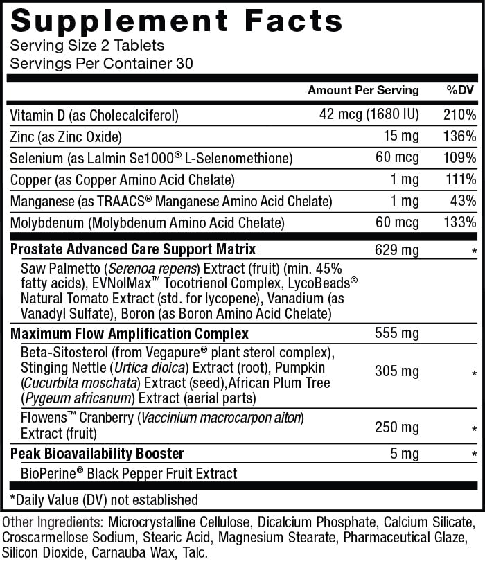 Supplement Facts. Serving Size: 2 Tablets. Servings Per Container: 30. Vitamin D (as Cholecalciferol) 42 mcg (1830 IU) per serving 210% daily value. Zinc (as Zinc Oxide)  15 mg per serving 136% daily value. Selenium (as Lalmin Se1000 ® L-Selenomethionine) 60 mcg per serving 109% daily value. Copper (as Copper Amino Acid Chelate) 1 mg per serving 111% daily value. Manganese (as TRAACS ® Manganese Amino Acid Chelate) 1 mg per serving 43% daily value. Molybdenum (Molybdenum Amino Acid Chelate) 60 mcg per serving 133% daily value.Prostate Advanced Care Support Matrix 629 mg per serving * daily value. Saw Palmetto (Serenoa repens) Extract (fruit) (min. 45% fatty acids), EVNolMa x ™ Tocotrienol Complex, LycoBeads ® Natural Tomato Extract (std. for lycopene), Vanadium (as Vanadyl Sulfate), Boron (as Boron Amino Acid Chelate). Maximum Flow Amplification Matrix 555 mg per serving. Beta-Sitosterol (from Vegapure® plant sterol complex), Stinging Nettle (Urtica dioica) Extract (root), Pumpkin (Cucurbita moschata) Extract (seed), African Plum Tree (Pygeum africanu m) Extract (aerial parts) 305 mg per serving * daily value. Flowens ™ Cranberry (Vaccinium macrocarpon aiton) Extract (fruit) 250 mg per serving * daily value. Peak Bioavailability Booster 5 mg * daily value. BioPerine ® Black Pepper Fruit Extract. *Daily Value (DV) not established. Other Ingredients: Microcrystalline Cellulose, Dicalcium Phosphate, Calcium Silicate, Croscarmellose Sodium, Stearic Acid, Magnesium Stearate, Pharmaceutical Glaze, Silicon Dioxide, Carnauba Wax, Talc.