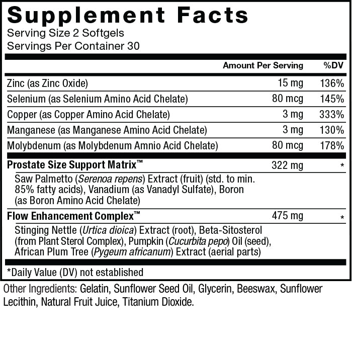 Supplement facts. Serving size 2 softgels. Servings per container 30. Zinc (as Zinc Oxide) 15 mg per serving 136% daily value. Selenium (as Selenium Amino Acid Chelate) 80 mcg per serving 145% daily value. Copper (as Copper Amino Acid Chelate) 3 mg per serving 333% daily value. Manganese (as Manganese Amino Acid Chelate) 3 mg per serving 130% daily value. Molybdenum (as Molybdenum Amino Acid Chelate) 80 mcg per serving 178% daily value. Prostate Size Support Matrix™ 322 mg per serving * daily value: Saw Palmetto (Serenoa repens) Extract (fruit) (std. to min. 85% fatty acids), Vanadium (as Vanadyl Sulfate), Boron (as Boron Amino Acid Chelate). Flow Enhancement Complex™ 475 mg per serving * daily value: Stinging nettle (Urtica dioica) Extract (root), Beta-Sitosterol (from Plant Sterol complex), Pumpkin (Cucurbita pepo) Oil (seed), African Plum Tree (Pygeum africanum) Extract (aerial parts). * Daily value not established. Other Ingredients: Gelatin, Sunflower Seed Oil, Glycerin, Beeswax, Sunflower Lecithin, Natural Fruit Juice, Titanium Dioxide.