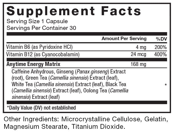 Supplement Facts. Serving Size 1 Capsule. Servings Per Container 30. Vitamin B6 (as Pyridoxal-5-Phosphate) 4 mg per serving 200% daily value. Vitamin B12 (as Methylcobalamin) 24 mcg per serving 400% daily value. Anytime Energy Matrix 168 mg per serving. Caffeine Anhydrous, Ginseng (Panax ginseng) Extract (stem and leaf), Green Tea (Camellia sinensis) Extract (leaf), White Tea (Camellia sinensis) Extract (leaf), Black Tea (Camellia sinensis) Extract (leaf), Oolong Tea (Camellia sinensis) Extract (leaf). *Daily Value (DV) not established. Other Ingredients: Gelatin, Microcrystalline Cellulose, Magnesium Stearate, Titanium Dioxide.
