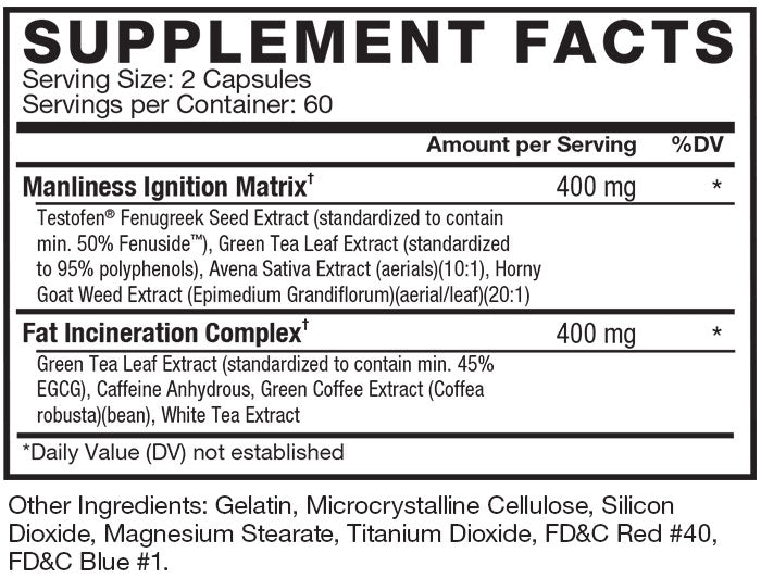 Supplement Facts. Serving Size 2 Capsules. Servings Per Container 30. Manliness Ignition Matrix 400 mg per serving * daily value. Testofen® Fenugreek (Trigonella foenum-graecum) Extract (seed) (std. to Fenuside™), Green Tea (Camellia sinensis) Extract (leaf) (std. to polyphenols), Avena Sativa Extract (aerial parts), Horny Goat Weed (Epimedium Grandiflorum) Extract (aerial parts). Fat Incineration Complex 400 mg per serving * daily value.  Green Tea (Camellia sinensis) Extract (lead) (std. to EGCG), Caffeine Anhydrous, Green Coffee (Coffea robusta) Extract (bean), White Tea (Camellia sinensis) Extract (leaf).  *Daily Value (DV) not established. Other Ingredients: Gelatin, Microcrystalline Cellulose, Magnesium Stearate, Silicon Dioxide, Titanium Dioxide, FD&C Red #40, FD&C Blue #1.