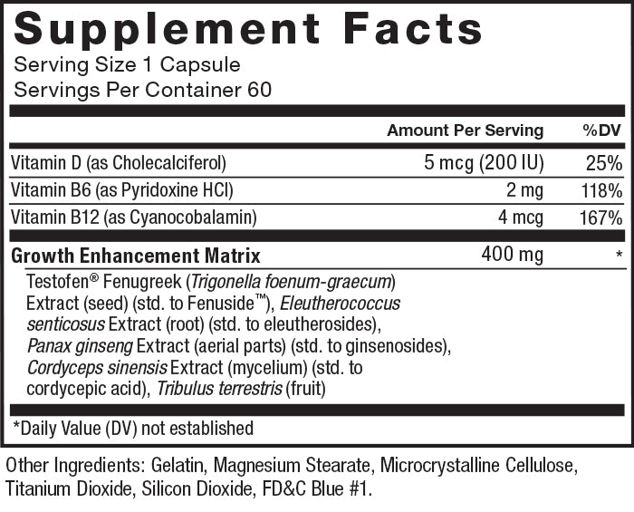 Supplement Facts. Serving Size 1 Capsule. Servings Per Container 60. Vitamin D (as Cholecalciferol) 5 mcg (200 IU) per serving 25% daily value. Vitamin B6 (as Pyridoxine HCl) 2 mg per serving 118% daily value. Vitamin B12 (as Cyanocobalamin) 10 mcg per serving 417% daily value. Growth Enhancement Matrix 400 mg per serving. Testofen® Fenugreek (Trigonella foenum-graecum) Extract (seed) (std. to Fenuside™), Eleutherococcus senticosus Extract (root) (std. to eleutherosides), Panax ginseng Extract (root)(std. to ginsenosides), Cordyceps sinensis Extract (mycelium) (std. to cordycepic acid), Tribulus terrestris Extract (fruit). *Daily Value (DV) not established. Other Ingredients: Gelatin, Microcrystalline Cellulose, Magnesium Stearate, Silicon Dioxide, Titanium Dioxide, FD&C Blue #1.