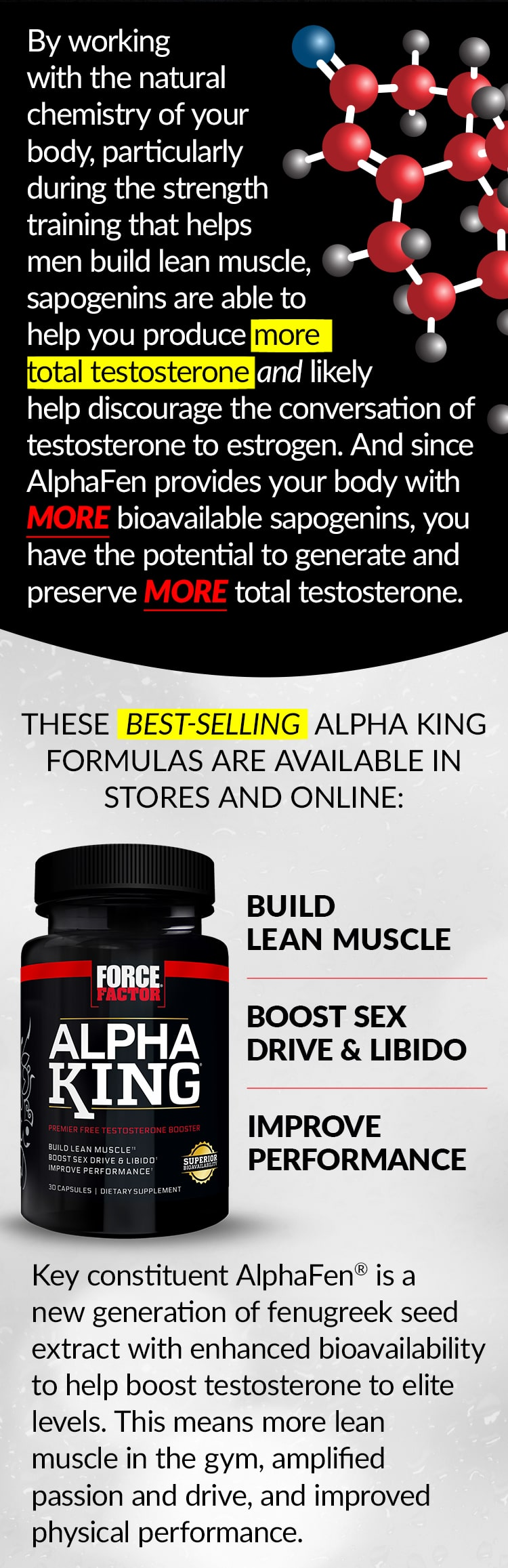 By working with the natural chemistry of your body, particularly during the strength training that helps men build lean muscle, sapogenins are able to help you produce more total testosterone and likely help discourage the conversation of testosterone to estrogen. And since AlphaFen provides your body with MORE bioavailable sapogenins, you have the potential to generate and preserve MORE total testosterone. THESE BEST-SELLING ALPHA KING FORMULAS ARE AVAILABLE IN STORES AND ONLINE: Alpha King® - BUILD LEAN MUSCLE, BOOST SEX DRIVE & LIBIDO, IMPROVE PERFORMANCE. Key constituent AlphaFen® is a new generation of fenugreek seed extract with enhanced bioavailability to help boost testosterone to elite levels. This means more lean muscle in the gym, amplified passion and drive, and improved physical performance.