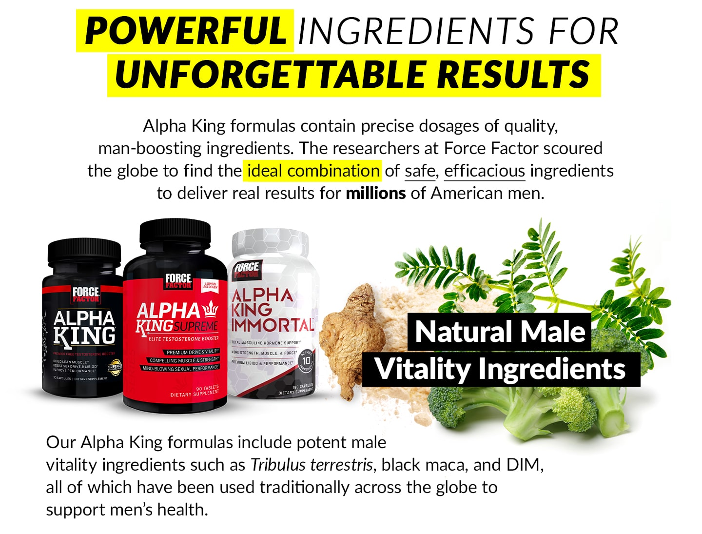 POWERFUL INGREDIENTS FOR UNFORGETTABLE RESULTS - Alpha King formulas contain precise dosages of quality, man-boosting ingredients. The researchers at Force Factor scoured the globe to find the ideal combination of safe, efficacious ingredients to deliver real results for millions of American men. Natural Male Vitality Ingredients - Our Alpha King formulas include potent male vitality ingredients such as Tribulus terrestris, black maca, and DIM, all of which have been used traditionally across the globe to support men's health.