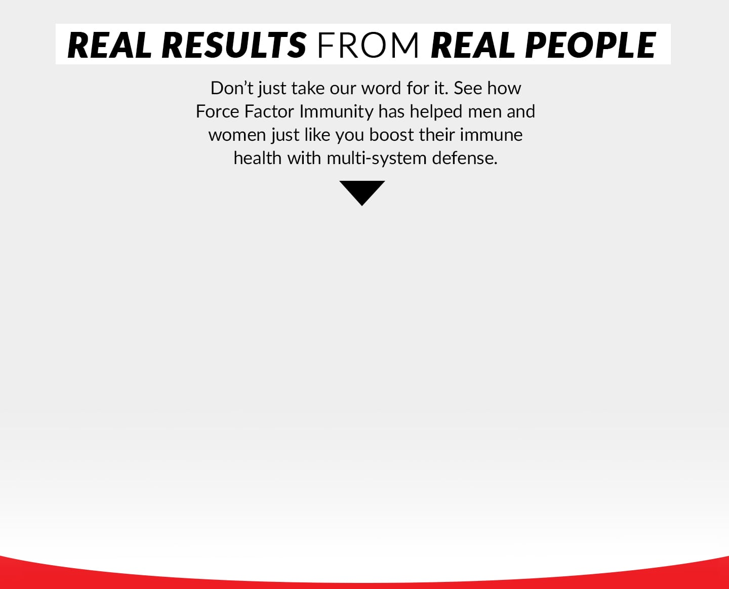 REAL RESULTS FROM REAL PEOPLE. Don't just take our word for it. See how Force Factor Immunity has helped men and women just like you boost their immune health with multi-system defense.