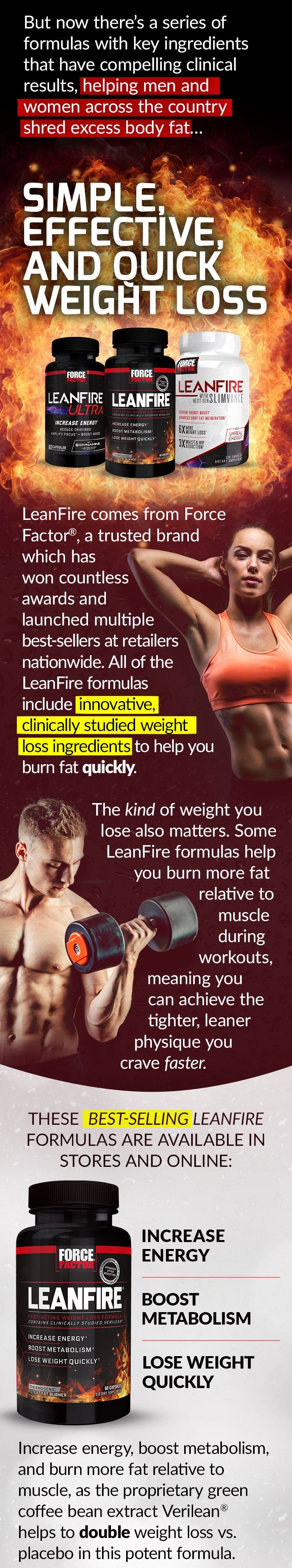 But now there's a series of formulas with key ingredients that have compelling clinical results, helping men and women across the country shred excess body fat... SIMPLE, EFFECTIVE, AND QUICK WEIGHT LOSS. LeanFire comes from Force Factor®, a trusted brand which has won countless awards and launched multiple best-sellers at retailers nationwide. All of the LeanFire formulas include innovative, clinically studied weight loss ingredients to help you burn fat quickly. The kind of weight you lose also matters. Some LeanFire formulas help you burn more fat relative to muscle during workouts, meaning you can achieve the tighter, leaner physique you crave faster. THESE BEST-SELLING LEANFIRE FORMULAS ARE AVAILABLE IN STORES AND ONLINE: LeanFire® - Increase Energy, Boost Metabolism, Lose Weight Quickly. Increase energy, boost metabolism, and burn more fat relative to muscle, as the proprietary green coffee bean extract Verilean® helps to double weight loss vs. placebo in this potent formula.