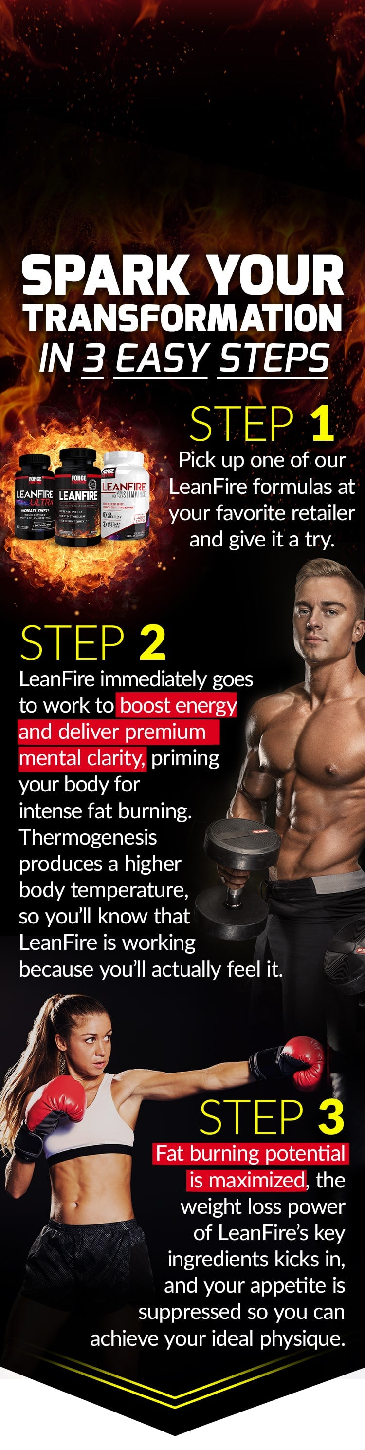 SPARK YOUR TRANSFORMATION IN 3 EASY STEPS. STEP 1: Pick up one of our LeanFire formulas at your favorite retailer and give it a try. STEP 2: LeanFire immediately goes to work to boost energy and deliver premium mental clarity, priming your body for intense fat burning. Thermogenesis produces a higher body temperature, so you'll know that LeanFire is working because you'll actually feel it. STEP 3: Fat burning potential is maximized, the weight loss power of LeanFire's key ingredients kicks in, and your appetite is suppressed so you can achieve your ideal physique.