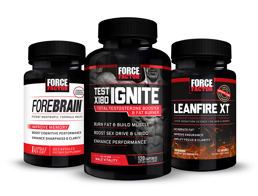 Unleash Your Potential with Force Factor top sellers like: Test X180 Ignite, LeanFire XT, and Forebrain