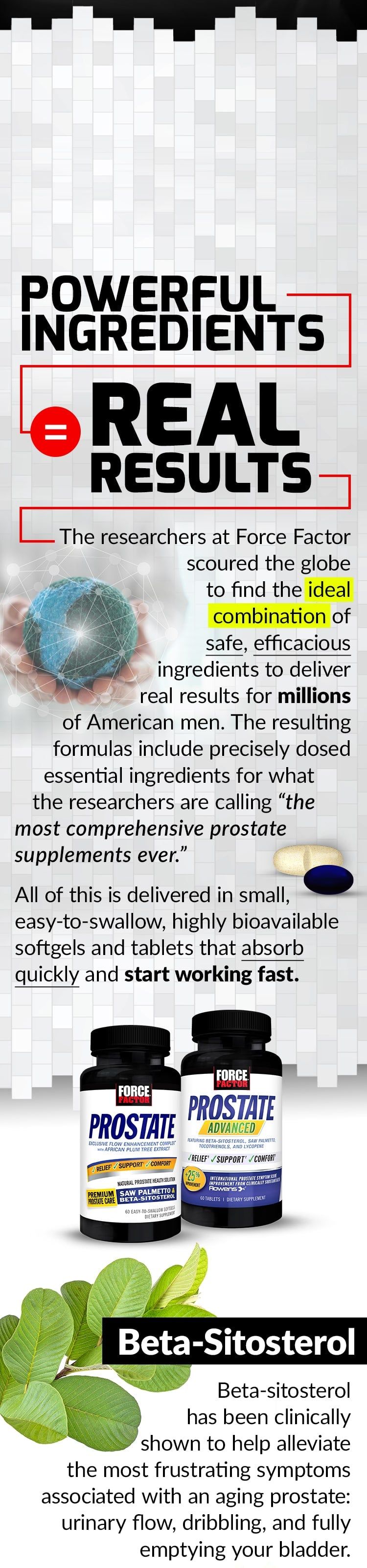 "POWERFUL INGREDIENTS = REAL RESULTS. The researchers at Force Factor scoured the globe to find the ideal combination of safe, efficacious ingredients to deliver real results for millions of American men. The resulting formulas include precisely dosed essential ingredients for what the researchers are calling ""the most comprehensive prostate supplements ever."" All of this is delivered in small, easy-to-swallow, highly bioavailable softgels and tablets that absorb quickly and start working fast. Beta-sitosterol has been clinically shown to help alleviate the most frustrating symptoms associated with an aging prostate: urinary flow, dribbling, and fully emptying your bladder."