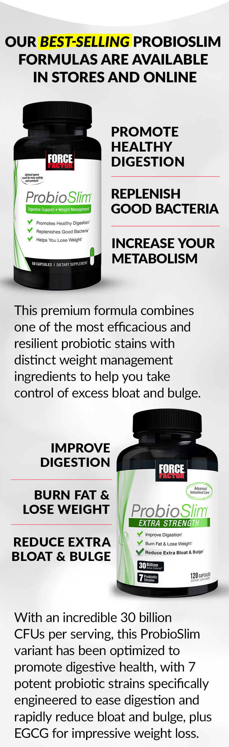 OUR BEST-SELLING PROBIOSLIM FORMULAS ARE AVAILABLE IN STORES AND ONLINE. Promote Healthy Digestion, Replenish Good Bacteria, Increase Your Metabolism. This premium formula combines one of the most efficacious and resilient probiotic stains with distinct weight management ingredients to help you take control of excess bloat and bulge. Improve Digestion, Burn Fat & Lose Weight, Reduce Extra Bloat and Bulge. With an incredible 30 billion CFUs per serving, this ProbioSlim variant has been optimized to promote digestive health, with 7 potent probiotic strains specifically engineered to ease digestion and rapidly reduce bloat and bulge, plus EGCG for impressive weight loss.