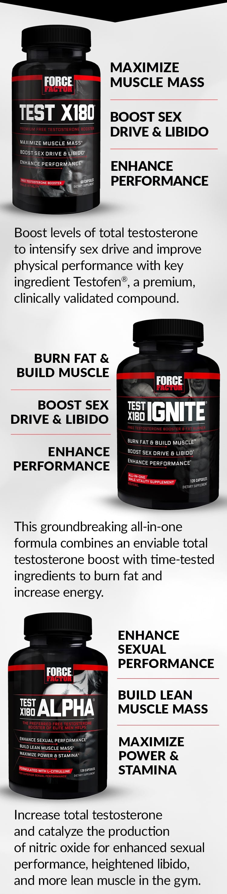 Test X180® - Maximize Muscle Mass, Boost Sex Drive & Libido, Enhance Performance. Boost levels of total testosterone to intensify sex drive and improve physical performance with key ingredient Testofen®, a premium, clinically supported compound. Test X180 Ignite® - Burn Fat & Build Muscle, Boost Sex Drive & Libido, Enhance Performance. This groundbreaking all-in-one formula combines an enviable total testosterone boost with time-tested ingredients to burn fat and increase energy. Test X180 Alpha® -Enhance Sexual Performance, Build Lean Muscle Mass, Maximize Power & Stamina. Increase total testosterone and catalyze the production of nitric oxide for enhanced sexual performance, heightened libido, and more lean muscle in the gym.