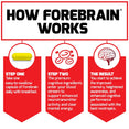 How Forebrain works: Step One, Take one easy-to-swallow capsule of forebrain daily with breakfast. Step Two, The premium cognitive ingredients enter your blood stream to support enhanced neurotransmitter activity and clear mental energy. The Result, You start to achieve the improved memory, heightened awareness, and enhanced cognitive performance associated with the best nootropics.