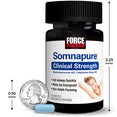 Somnapure® Clinical Strength, 30 Caplet Bottle, Size Chart.