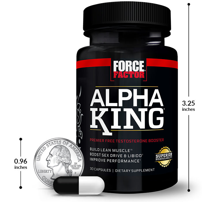 Alpha King, 30 Capsule Bottle, Size Chart