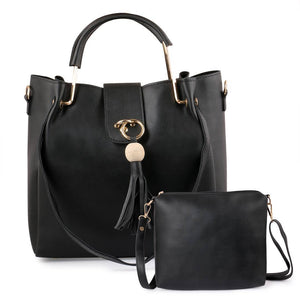 Black Solid Leatherette Handbag With Clutch