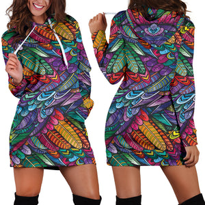 Boho Feather 3 Hoodie Dress