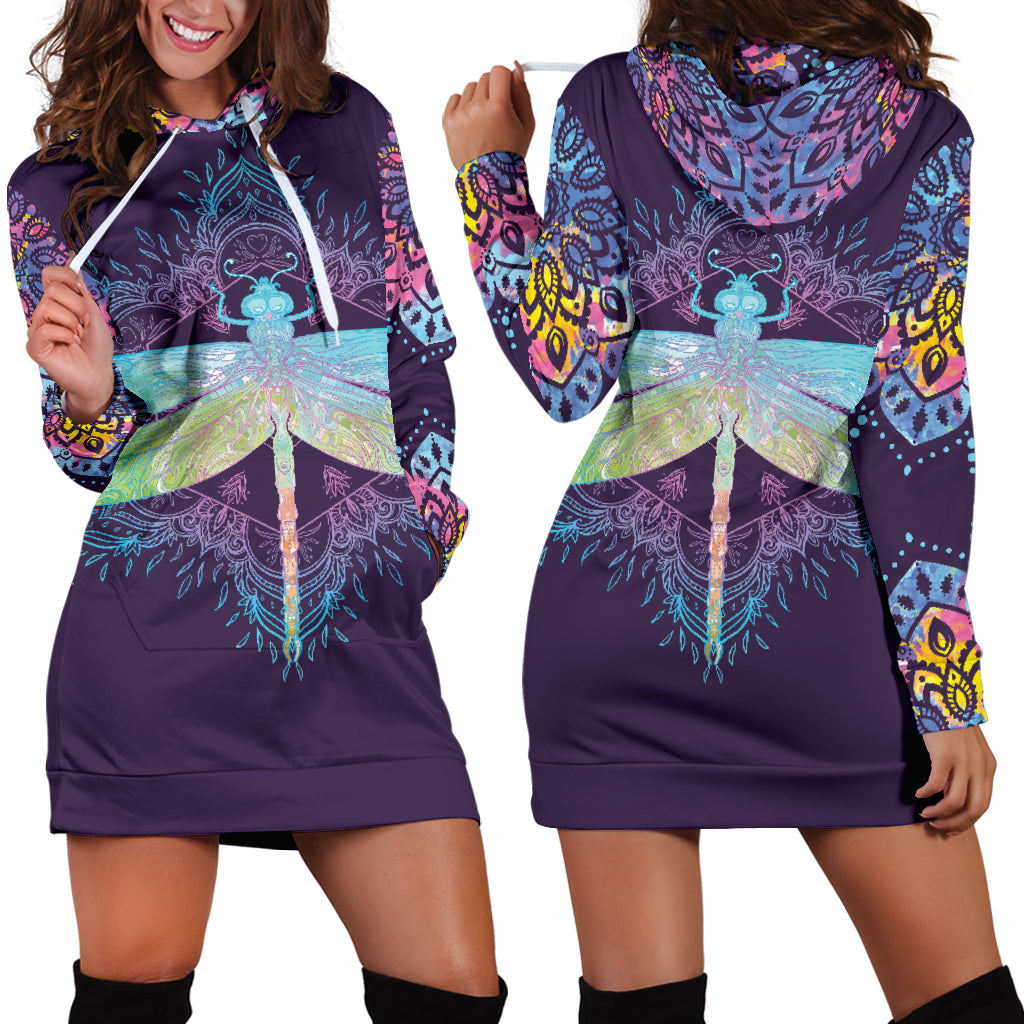 Dragonfly Mandala Hoodie Dress