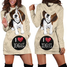 Load image into Gallery viewer, I Love Beagles Hoodie Dress for Lovers of Beagle Dogs