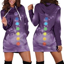 Load image into Gallery viewer, Chakra Lotus Hoodie Dress