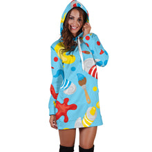 Load image into Gallery viewer, Artsy Blue Hoodie Dress - Best Hoodie Dress