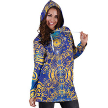 Load image into Gallery viewer, Gold Bohemian Women's Hoodie Dress