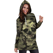 Load image into Gallery viewer, Camo Skull Hoodie Dress Camouflage with Skulls