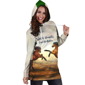 Wild Hearts Can't Be Broken Hoodie Dress for Horse Lovers