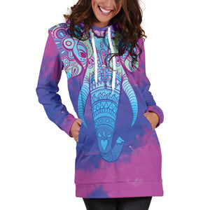 Colorful Elephant Women's Hoodie Dress
