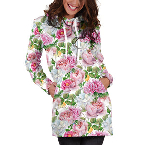 Watercolor Floral Hoodie Dress