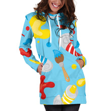 Load image into Gallery viewer, Artsy Blue Hoodie Dress