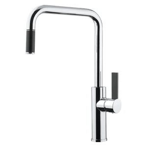 ABEY LUZ SINK MIXER SQ/N CP W/BLK P/OUT+LVR