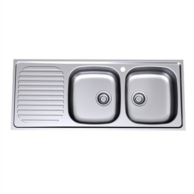 Caroma Radiant Sink R200.1R 1Th Double E/B Rh 1200
