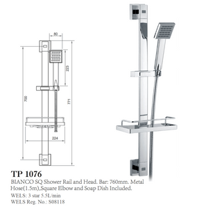 ECT H/SHOWER + RAIL BIANCO SQ +SOAP DISH CP