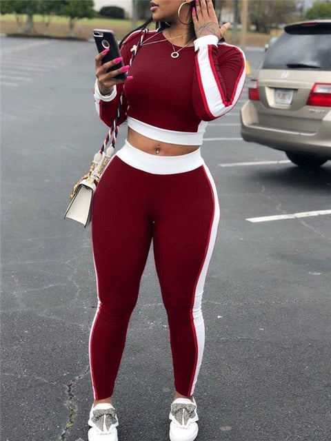 Yoga Set Sleeve Crop Top Pants Gym Outfit