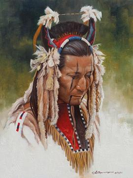 "Steven Lang Painting ""Blackfeet Grizzly Bear Man"""
