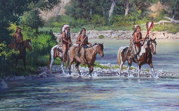 "Steven Lang Painting ""Crossing the Shallows"""