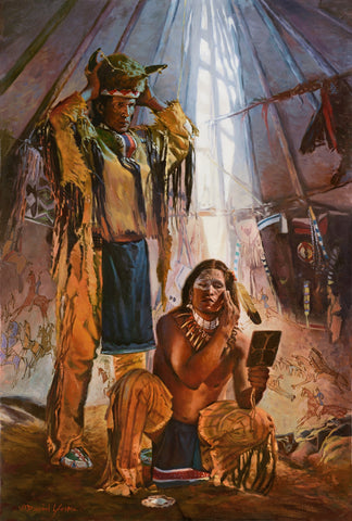 Original Painting of 2 Native American figures inside a teepee
