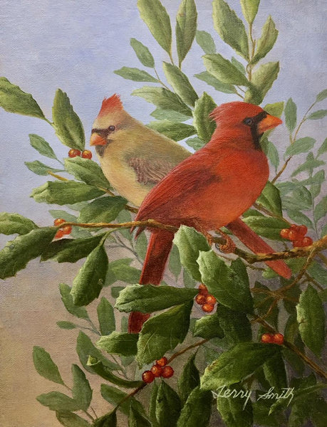 "Terry Smith Painting ""Cardinals in Scrub Holly"" Original Acrylic"