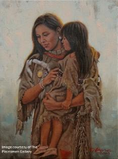 """Crow Mother and Child"" painting by Steven Lang"