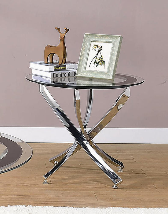 Glass Top Chrome End Table