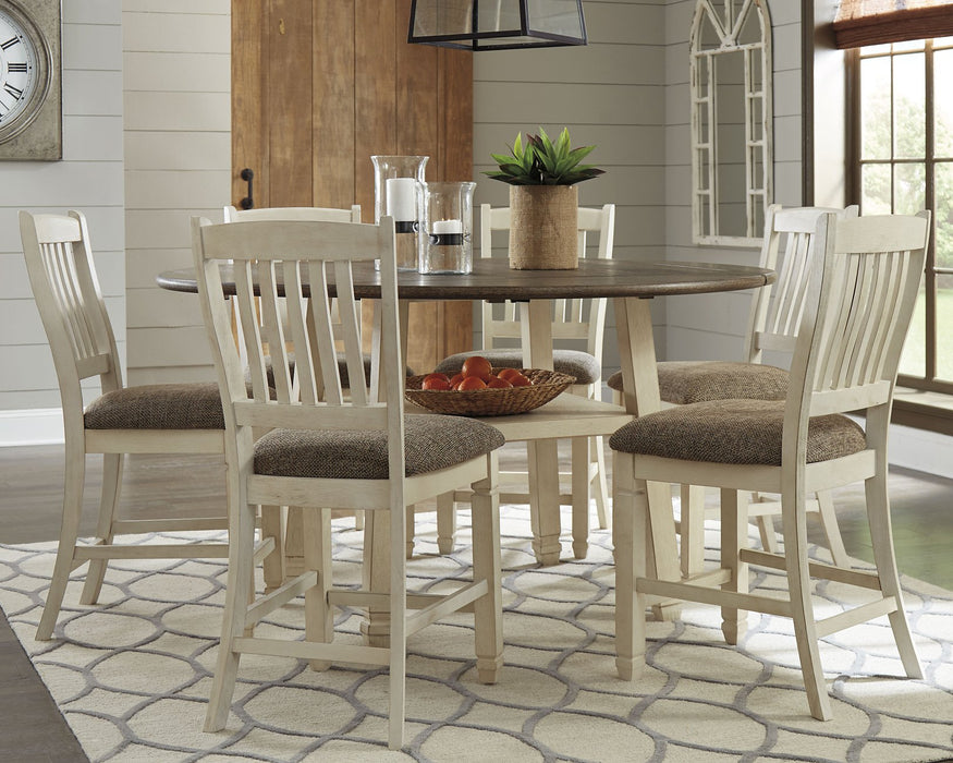 Bolanburg Signature Design 7-Piece Dining Room Set with Counter Height Drop Leaf Table