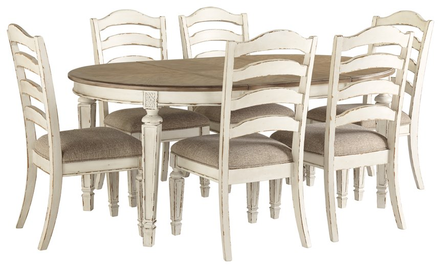 Realyn Signature Design Chipped White 7-Piece Dining Room Set