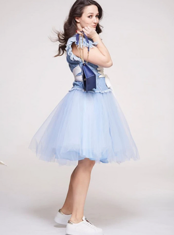 Over the Knee Baby Blue Tulle Skirt