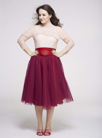 Midi Cherry Red Tulle Skirt