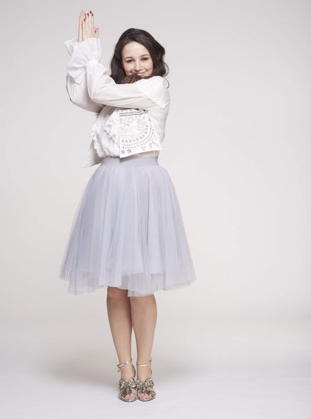 Over the Knee Light Gray Tulle Skirt