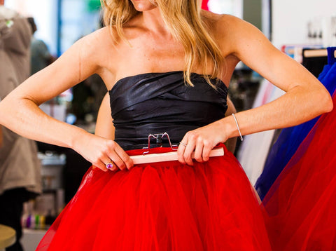Midi Red Tulle Skirt